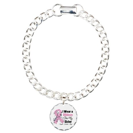 Sister Ribbon Breast Cancer Charm Bracelet, One Ch