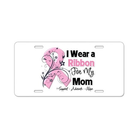 Mom Ribbon Breast Cancer Aluminum License Plate