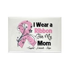Mom Ribbon Breast Cancer Rectangle Magnet