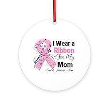 Mom Ribbon Breast Cancer Ornament (Round)