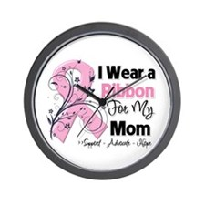 Mom Ribbon Breast Cancer Wall Clock