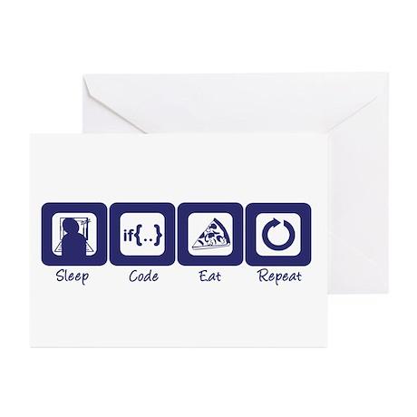 Sleep- Code- Eat- Repeat Greeting Cards (Package o