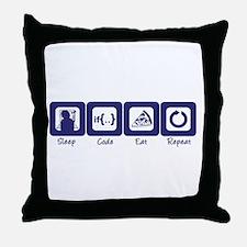Sleep- Code- Eat- Repeat Throw Pillow