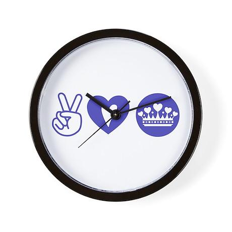 Peace Love Heart Princess Crown Wall Clock