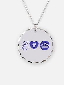 Peace Love Heart Princess Crown Necklace