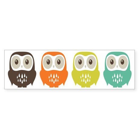Owl In A Row Sticker (Bumper)
