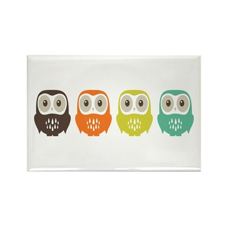 Owl In A Row Rectangle Magnet
