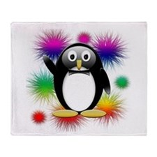 Penguin splash Throw Blanket