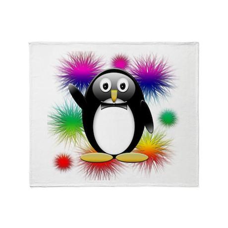 Penguin splash Throw Blanket