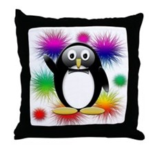 Penguin splash Throw Pillow