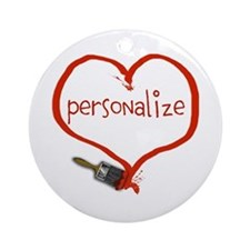 Customizable Painted Heart Ornament (Round)