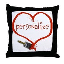 Customizable Painted Heart Throw Pillow