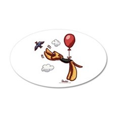 Aire-Balloon Airedale Terrier 38.5 x 24.5 Oval Wal