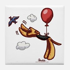 Aire-Balloon Airedale Terrier Tile Coaster