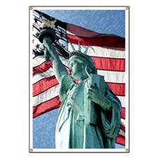 Giant Image of Liberty and American Flag / Banner
