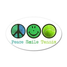 Smile and TENNIS 22x14 Oval Wall Peel