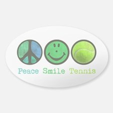 Smile and TENNIS Sticker (Oval)