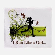 Decorative Girl Running Throw Blanket