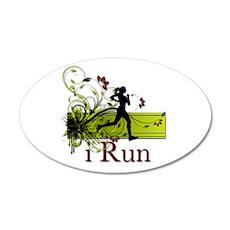 iRun Decorative Running Girl 22x14 Oval Wall Peel