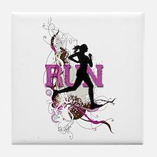 Run - Running Girl Tile Coaster
