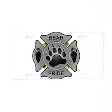 Bear Pride Firefighter Badge Aluminum License Plat