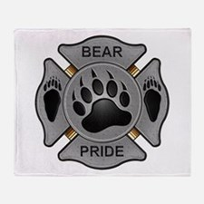 Bear Pride Firefighter Badge Throw Blanket