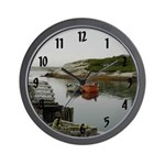 Two Boats in Cove Wall Clock