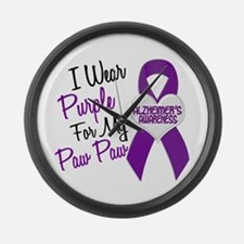 I Wear Purple 18 Alzheimers Large Wall Clock