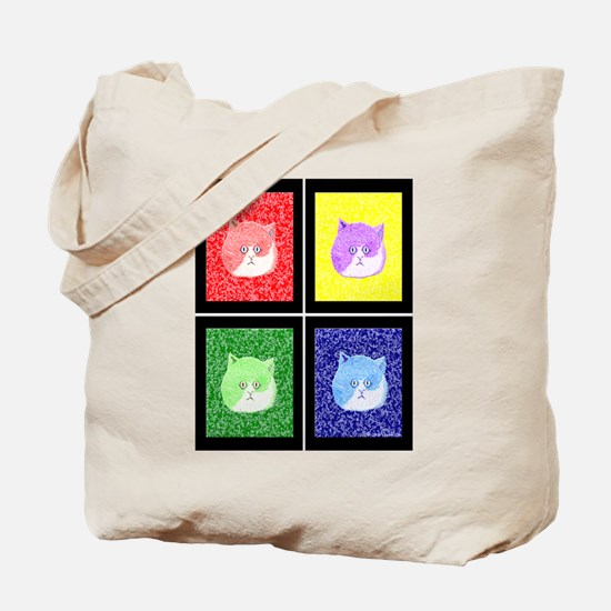 Vivid Pop Art Cats Tote Bag