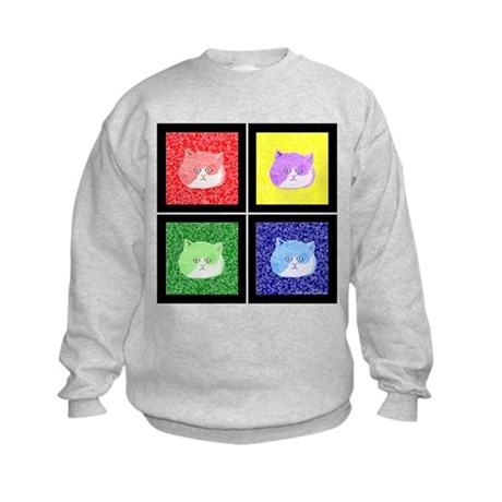 Vivid Pop Art Cats Kids Sweatshirt