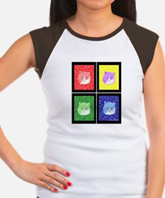 Vivid Pop Art Cats Women's Cap Sleeve T-Shirt