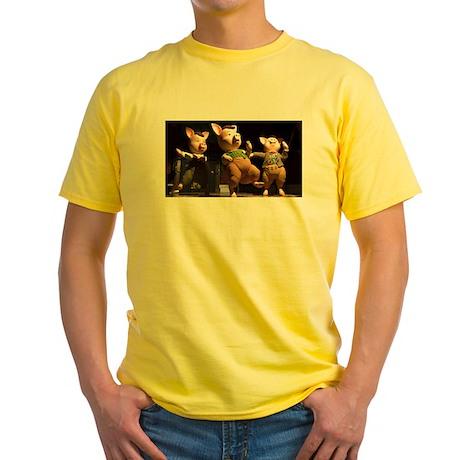 Yellow T-Shirt Air Guitar Pigs