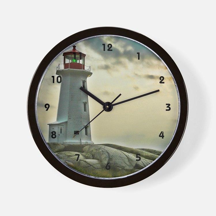 Lighthouse on Granite Wall Clock