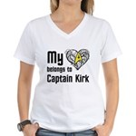 My Heart Belongs to Captain Kirk Women's V-Neck T-