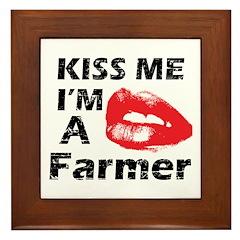 Kiss me I'm a Farmer Framed Tile