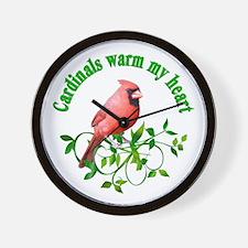 Cardinals Warm My Heart Wall Clock