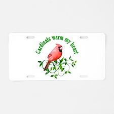 Cardinals Warm My Heart Aluminum License Plate