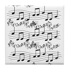 black notes Tile Coaster