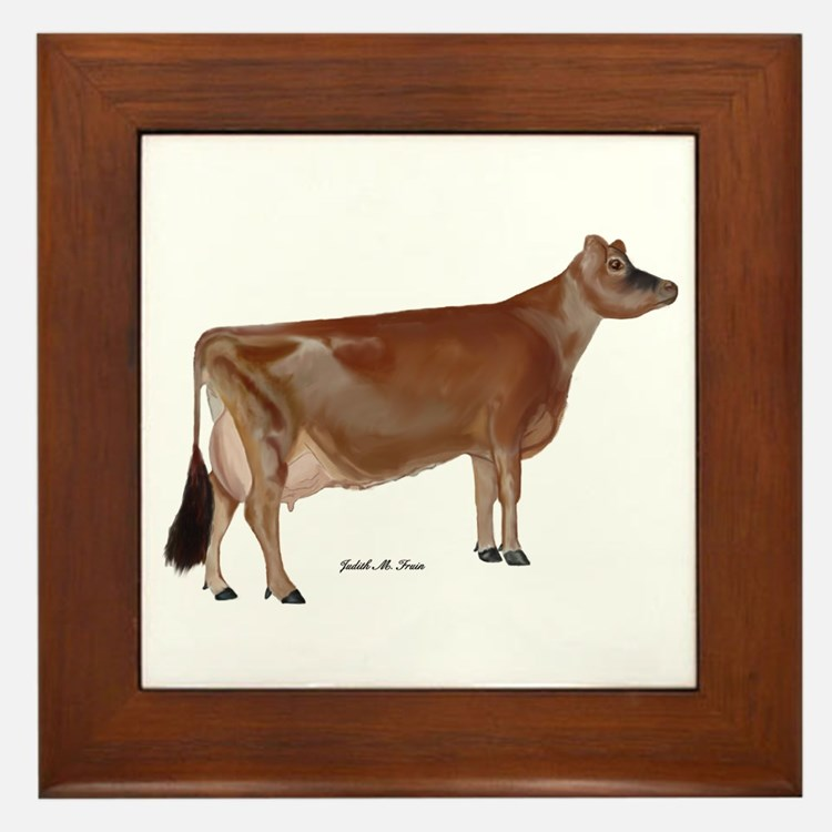 Jersey Cow Framed Tile