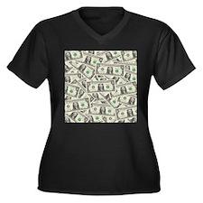 Dollar Bills Women's Plus Size V-Neck Dark T-Shirt