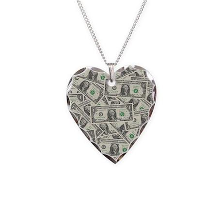 Dollar Bills Necklace Heart Charm