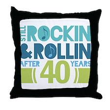 40th Anniversary Rock N Roll Throw Pillow