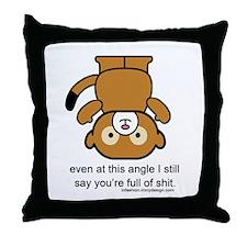 Happy Monkey - Full of Shit Throw Pillow
