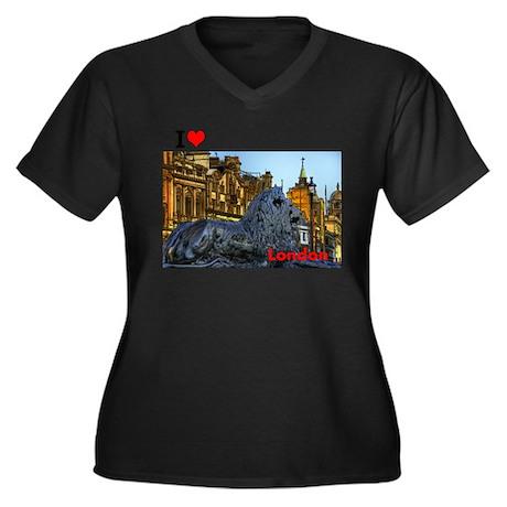 I Love London Women's Plus Size V-Neck Dark T-Shir