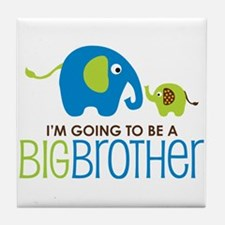 Elephant going to be a Big Brother Tile Coaster