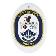 USS Halsey DDG 97 Oval Ornament