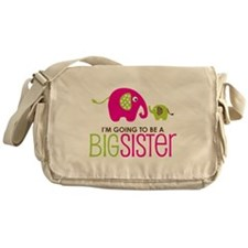 Elephant going to be a Big Sister Messenger Bag