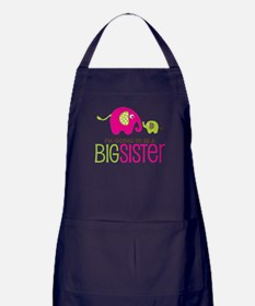 Elephant going to be a Big Sister Apron (dark)