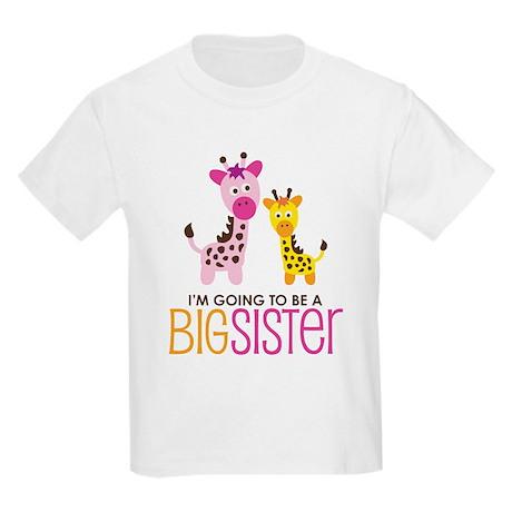 Giraffe going to be a Big Sister Kids Light T-Shir