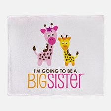 Giraffe going to be a Big Sister Throw Blanket